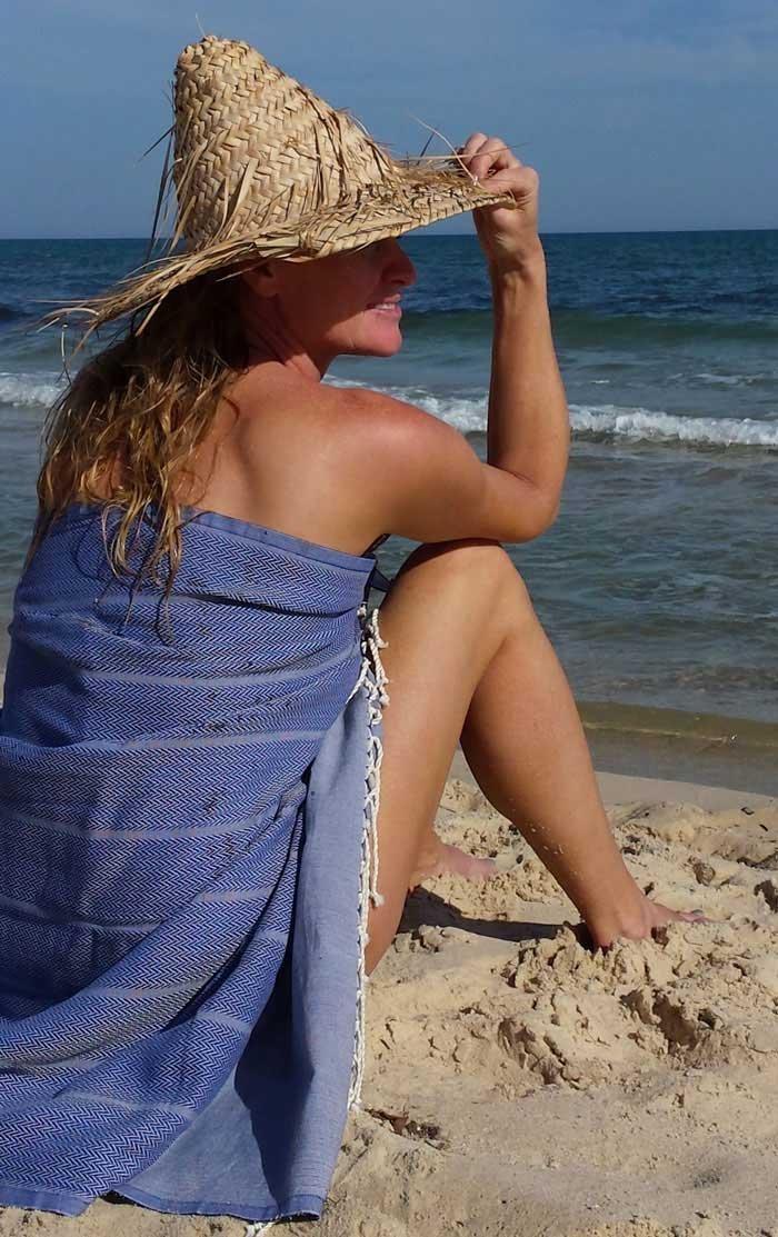Foutas Mod/èle Unique ZusenZomer Fouta de Plage xl PLAYA 100x190 cm Jeans Bleu 100/% Coton Drap de Hammam Luxueuse avec Fin Motif de Chevrons