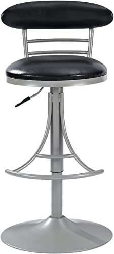 Crosley Furniture Jasper Swivel Counter Stool, 26-inch, Platinum with Black Cushion