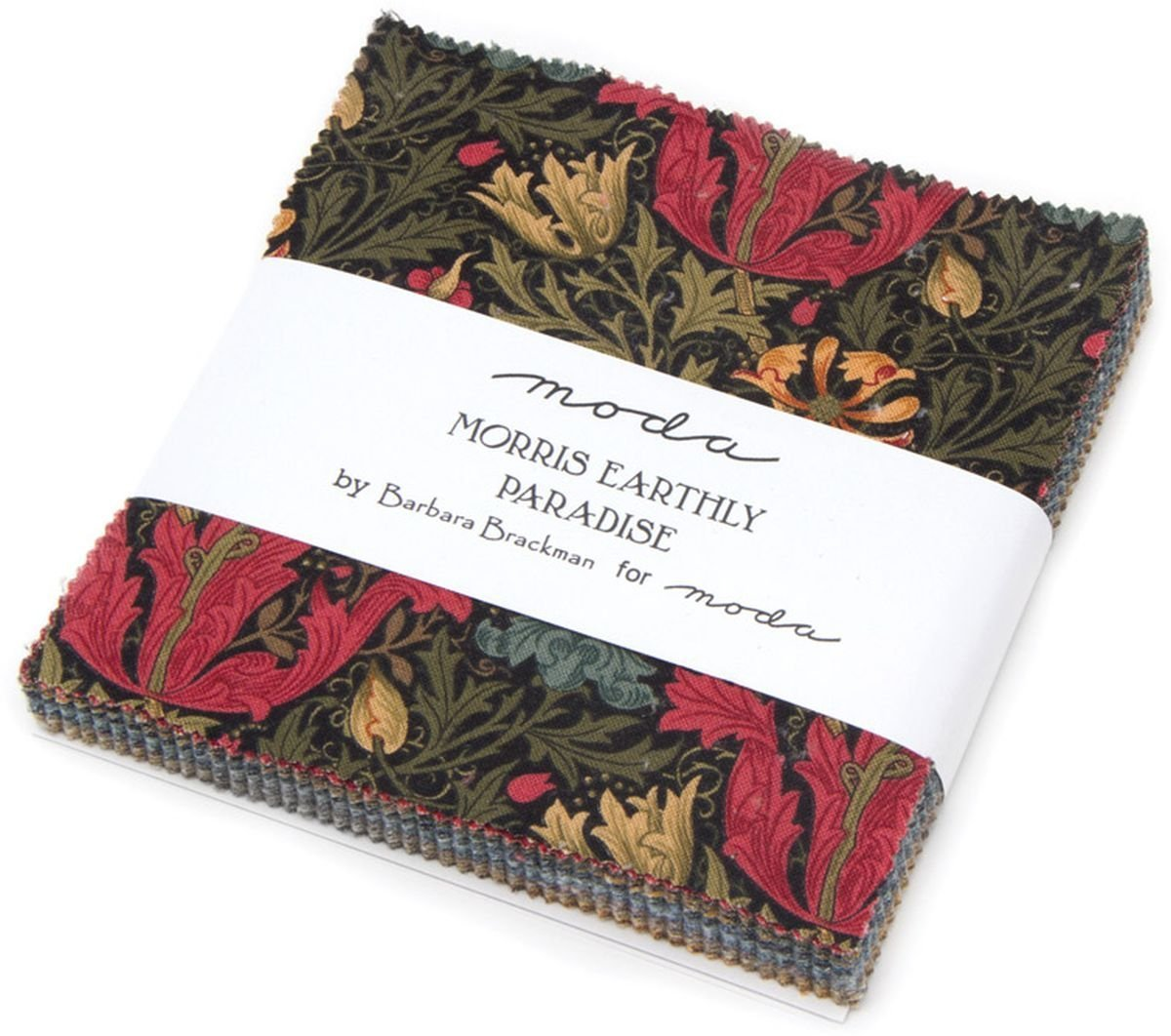 Morris Earthly Paradise Charm Pack by Barbara Brackman; 42-5 inch Precut Fabric Quilt Squares United Notions 8330PP