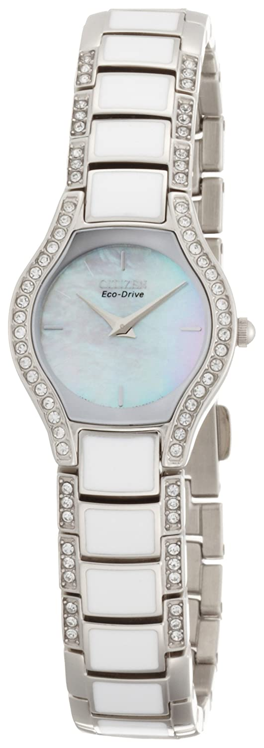 Citizen Eco-Drive Women s EW9870-72D Normandie White Resin Watch and Bracelet Set