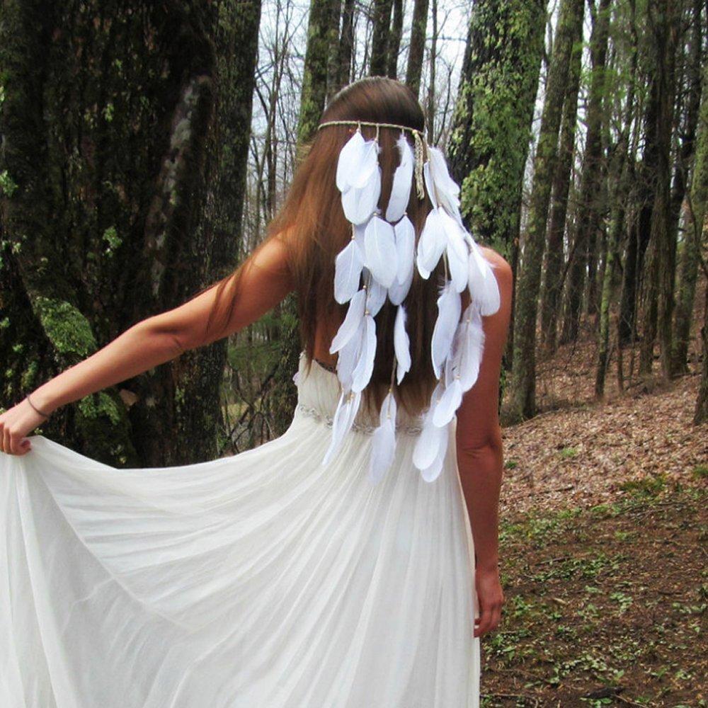 jovono plumas borlas diadema tocado pelo banda para las mujeres (color blanco)