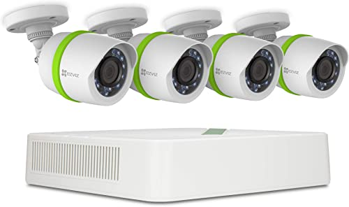 Refurbished EZVIZ Full HD 1080p Outdoor Surveillance System, 4 Weatherproof HD Security Cameras, 4 Channel 1TB DVR Storage, 100ft Night Vision, Customizable Motion Detection