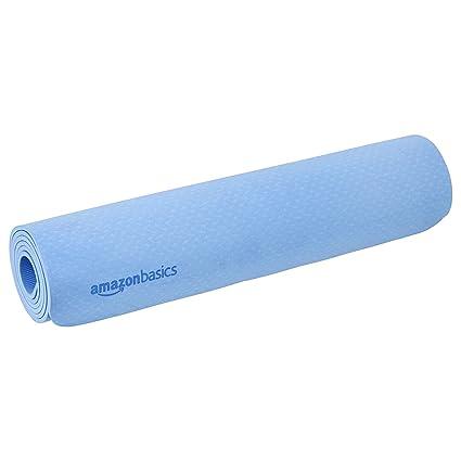 AmazonBasics TPE Yoga Mat, Blue, 1/4