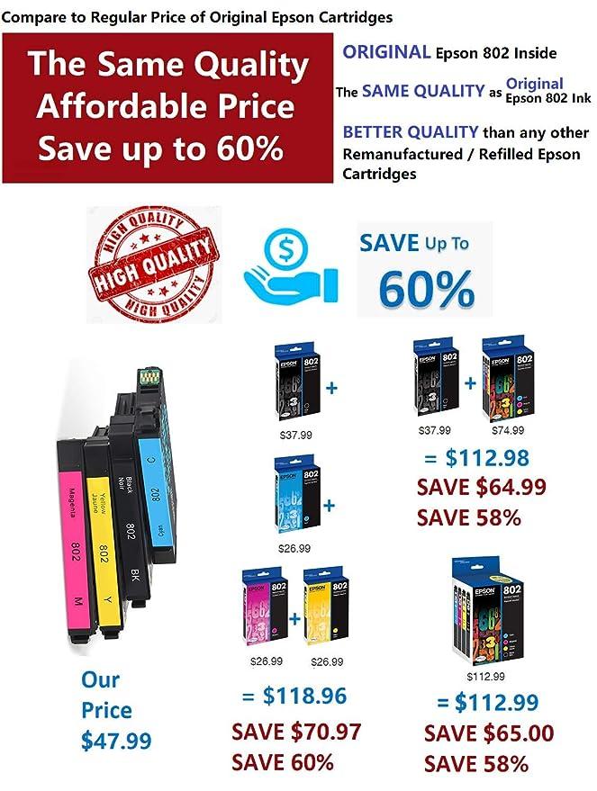 Amazon.com: Epson 802 Cartuchos de tinta (remanufacturados ...