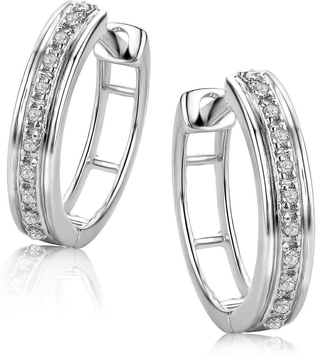 Orovi Pendientes Señora aros en Oro Blanco con Diamantes Talla Brillante 0.06 ct Oro 9 Kt / 375