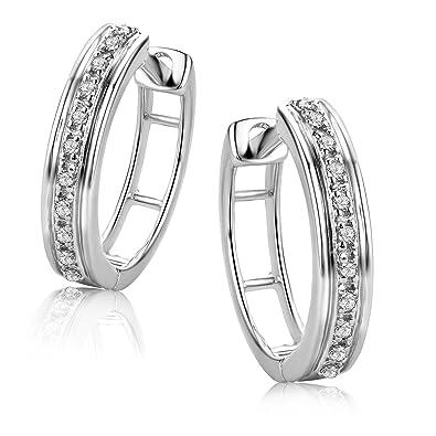 f4ac2dfcb29a Orovi Pendientes Señora aros en Oro Blanco con Diamantes Talla Brillante  0.06 ct Oro 9 Kt   375  Amazon.es  Joyería