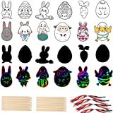 Mocossmy Easter Scratch Artcards Set for Kids - Double Sided Easter Eggs Scratch Paper Art Kit with Scratch Stick,Craft Art P