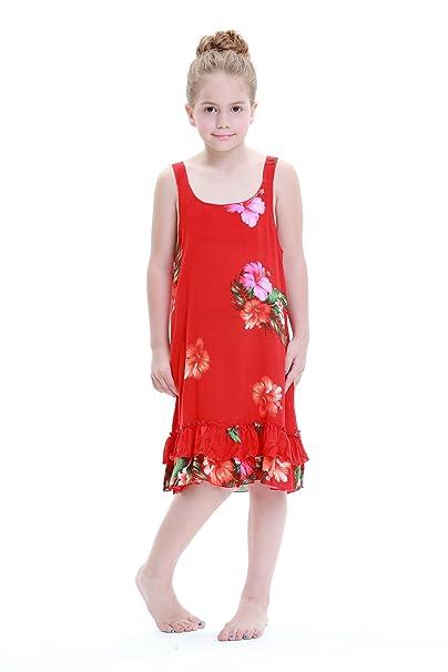 f1fd1f6b439e8 Amazon.com: Girl Red Floral Hawaiian Luau Dress in Various Styles ...