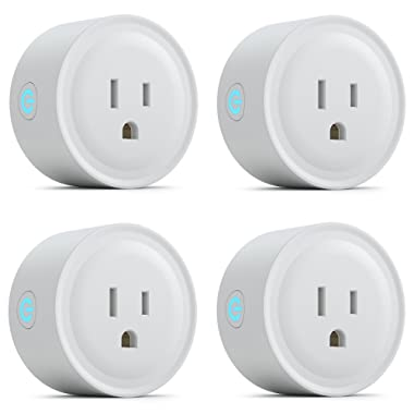 Smart Plug Socket, Jurong Mini Wifi Wireless Plug Electrical Timing Outlet Remote Control Devices from Anywhere Compatible with Amazon Alexa Echo and Google Assistant IFTTT No Hub Required 4 pack