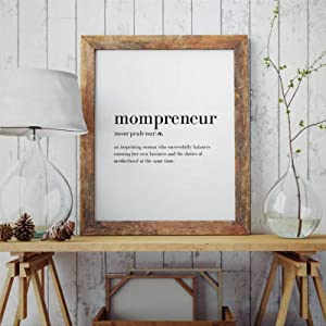 BYRON HOYLE Mompreneur Definition Framed Wood Sign, Wooden Wall Hanging Art, Inspirational Farmhouse Wall Plaque, Rustic Home Decor for Nursery, Porch, Gallery Wall, Housewarming