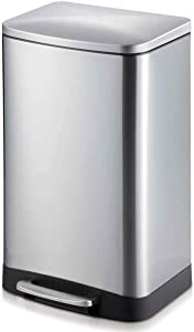 Innovaze Step Trash Can, Rectangular Style Garbage Bin with Plastic Inner Bucket and Soft Slow Close Lid for Bathroom Kitchen and Office (6 Liters / 1.6 Gallon)