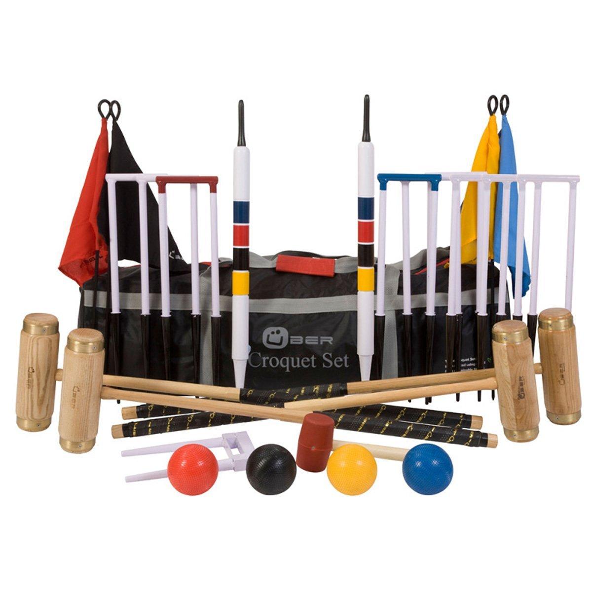 Excecutive ECO Holz Krocket Set mit 4 Schlägern aus engl. Esche und Composite Bällen, mit Nylontasche
