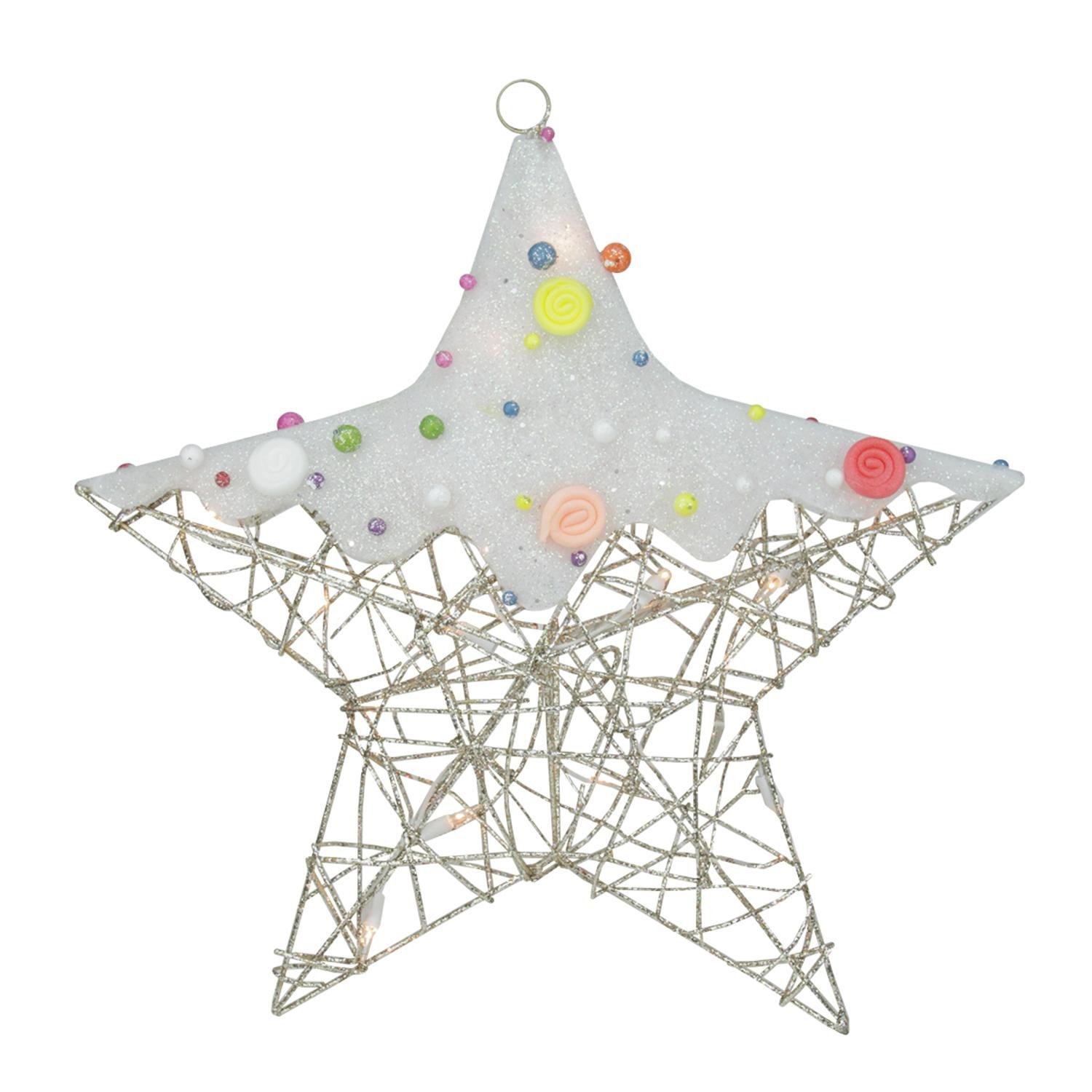 Northlight Lighted Champagne Gold Glittered Rattan Candy Covered Hanging Star Christmas Window Decoration, 19''