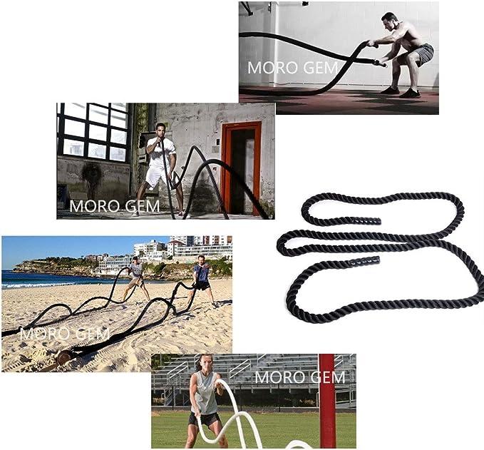 MORO - Cuerda de batalla para fuerza corporal, deporte, ejercicio, fitness, entrenamiento. Cuerda para ejercicios – 9-15 m de largo, 38 mm de grosor. ...
