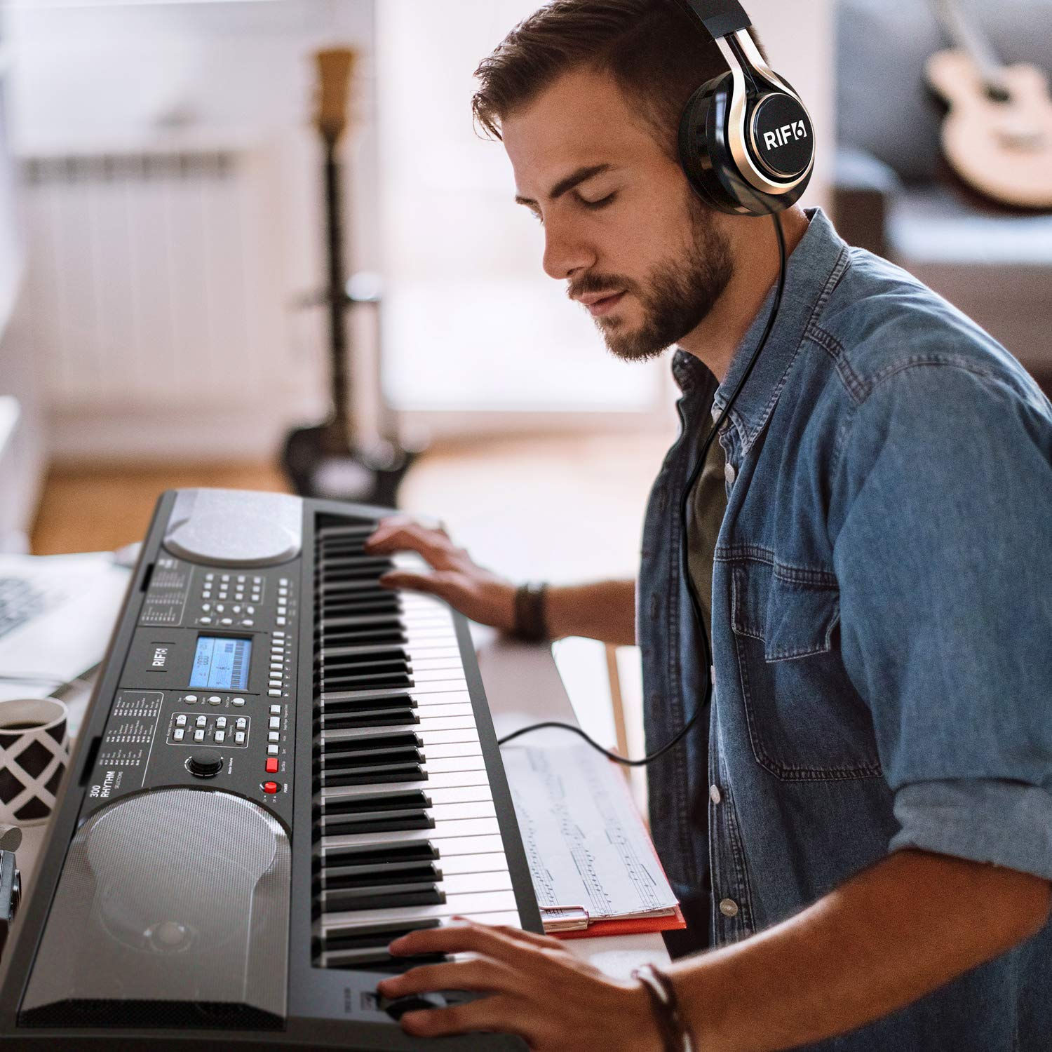 RIF6 Electric 61 Key Piano Keyboard - with Over Ear Headphones, Music Stand, Digital LCD Display, Teaching Modes and Adjustable Stool - Electronic Musical Instruments Starter Set for Kids and Adults by RIF6 (Image #3)