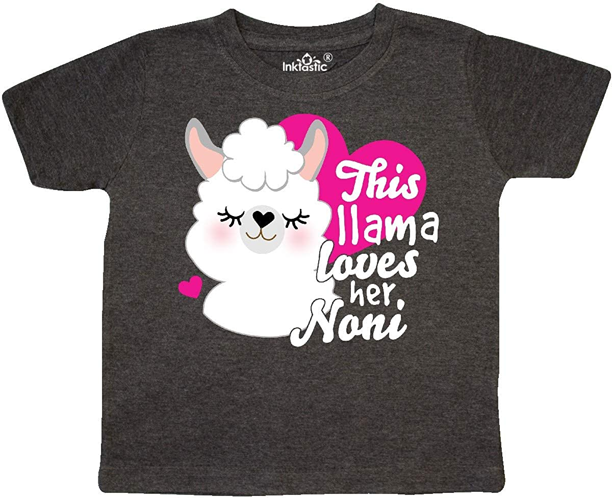 inktastic Valentines Day This Llama Loves Her Noni Toddler T-Shirt