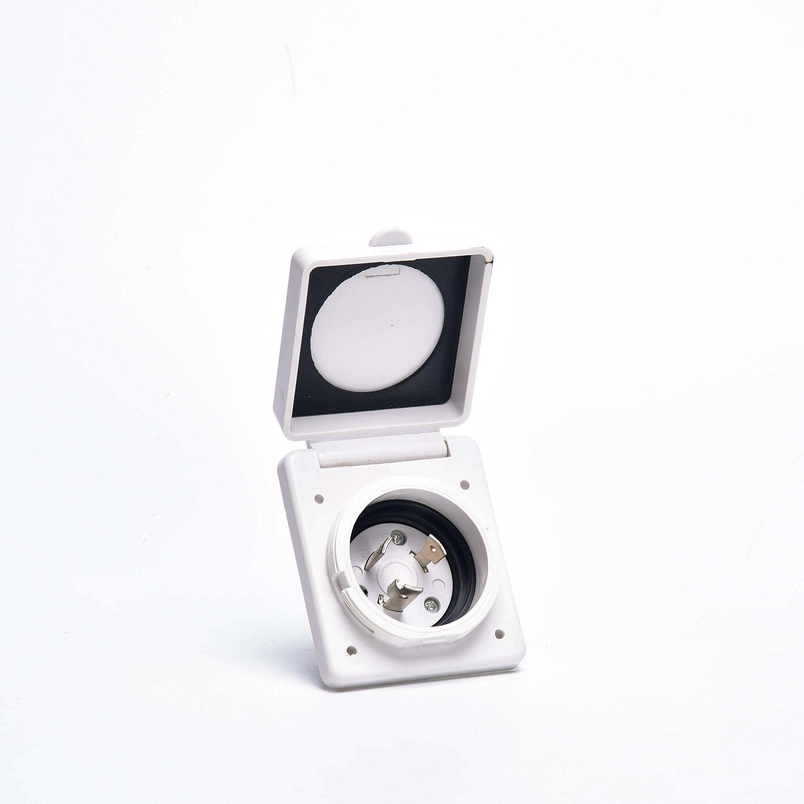 Trek Power 30A RV Power Twist Lock Inlet (White)