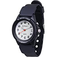 WOLFTEETH Analog Quartz Boys Wrist Watch with Second Hand Luminous Backlight White Dial Water Resistant Fashion Watch 3052