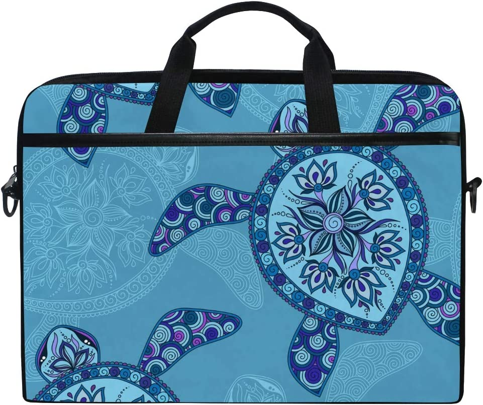WXLIFE Ethnic Sea Animal Turtle 13 13.3 14 Inch Laptop Shoulder Messenger Bag Case Sleeve Briefcase with Handle Strap for Men Women Boys Girls