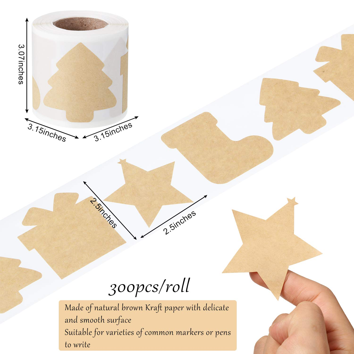 300 2.5x2.5 Pieces Christmas Themed Kraft Paper Label Stickers Brown Kraft Sticker Tags Labels Christmas Name Tags for Xmas Gift in 4 Shapes Include Tree Star Sock and Gift Box