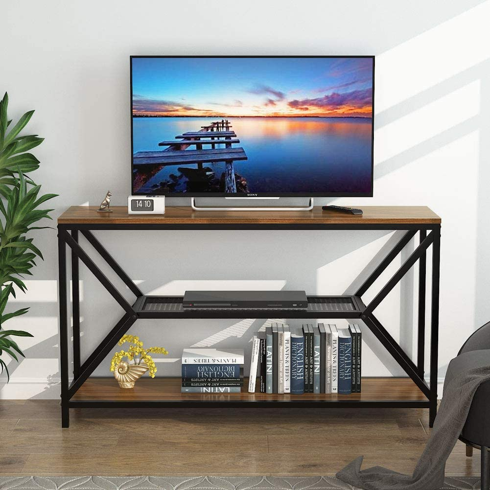 Easy Assembly Vintage Brown Tribesigns 55 INCH TV Stand with Storage Sofa Table for Living Room Home Entryway 3-Tier Console Table Hallway Table with Mesh Shelves