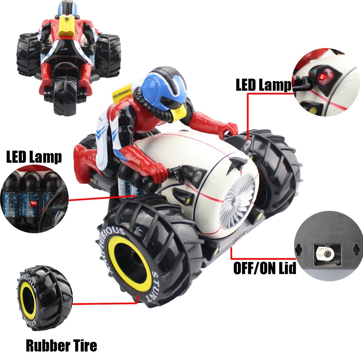 Fistone RC Car High Speed Spinning Stunt Car 2.4G Remote Control Amphibious Motorcycle Drives on Land & Water Vehicle Toys for Kids