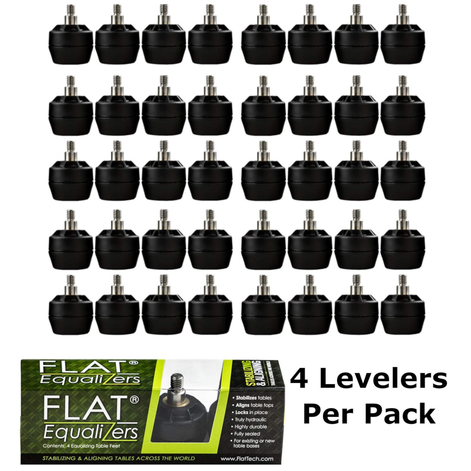 FLAT Equalizers (Stabilizing Table Feet) - 1/4'' -20 Thread Size, 40 Levelers by FLAT