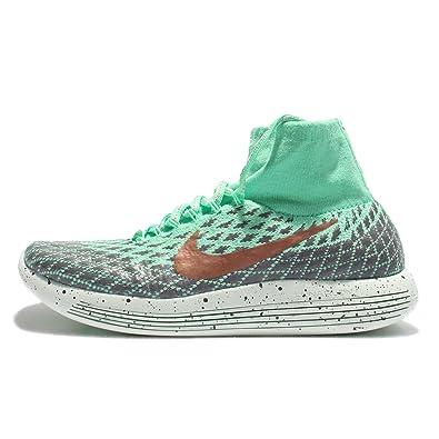 Nike Women's Wmns Lunarepic Flyknit Shield, GREEN GLOW/MTLC RED BRONZE-DARK  GREY