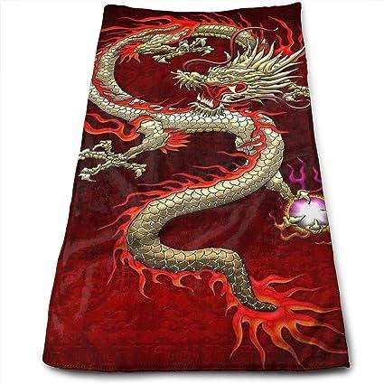 Toallas de mano grandes de microfibra (Dragón chino rojo Dragon Ball Art – 12 x