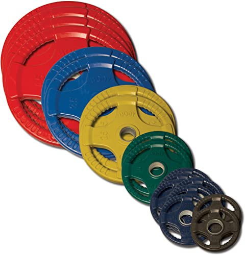 Body-Solid Color Olympic Quad Rubber Grip Weight Plate Set