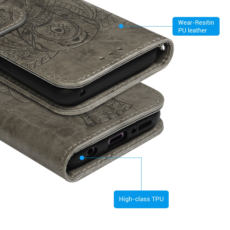Druckkarte Elefant Leder Handyh/ülle Klappbares Brieftasche Schutzh/ülle Wallet Case Cover mit Integrierten Kartensteckpl/ätzen Grau Mlorras H/ülle f/ür Samsung Galaxy S9, 2 in 1