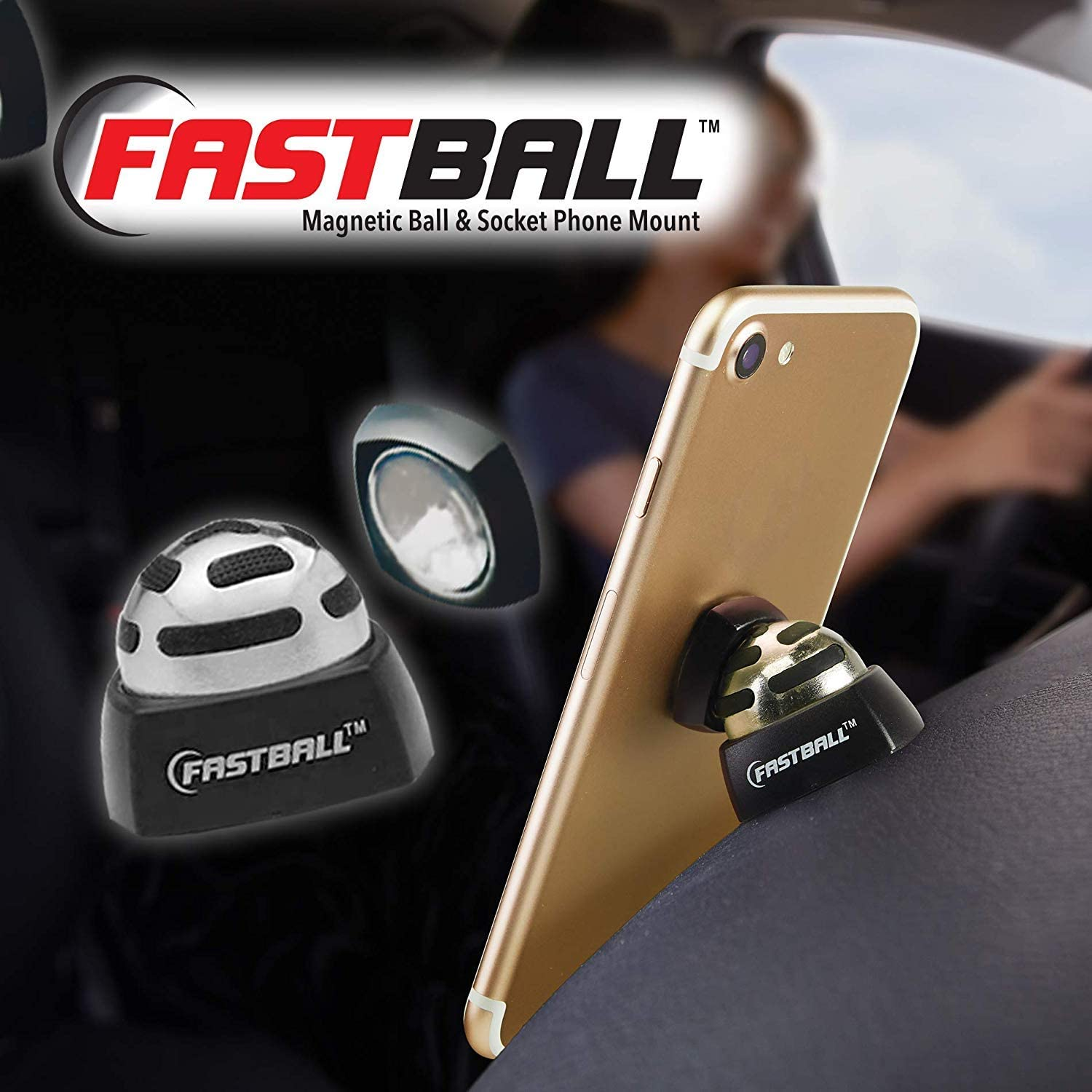 As Seen On TV Fastball Magnetic Car Cell Phone Mount/Holder by BulbHead – Universal 360 Degree Car Dashboard Cellphone Holder...