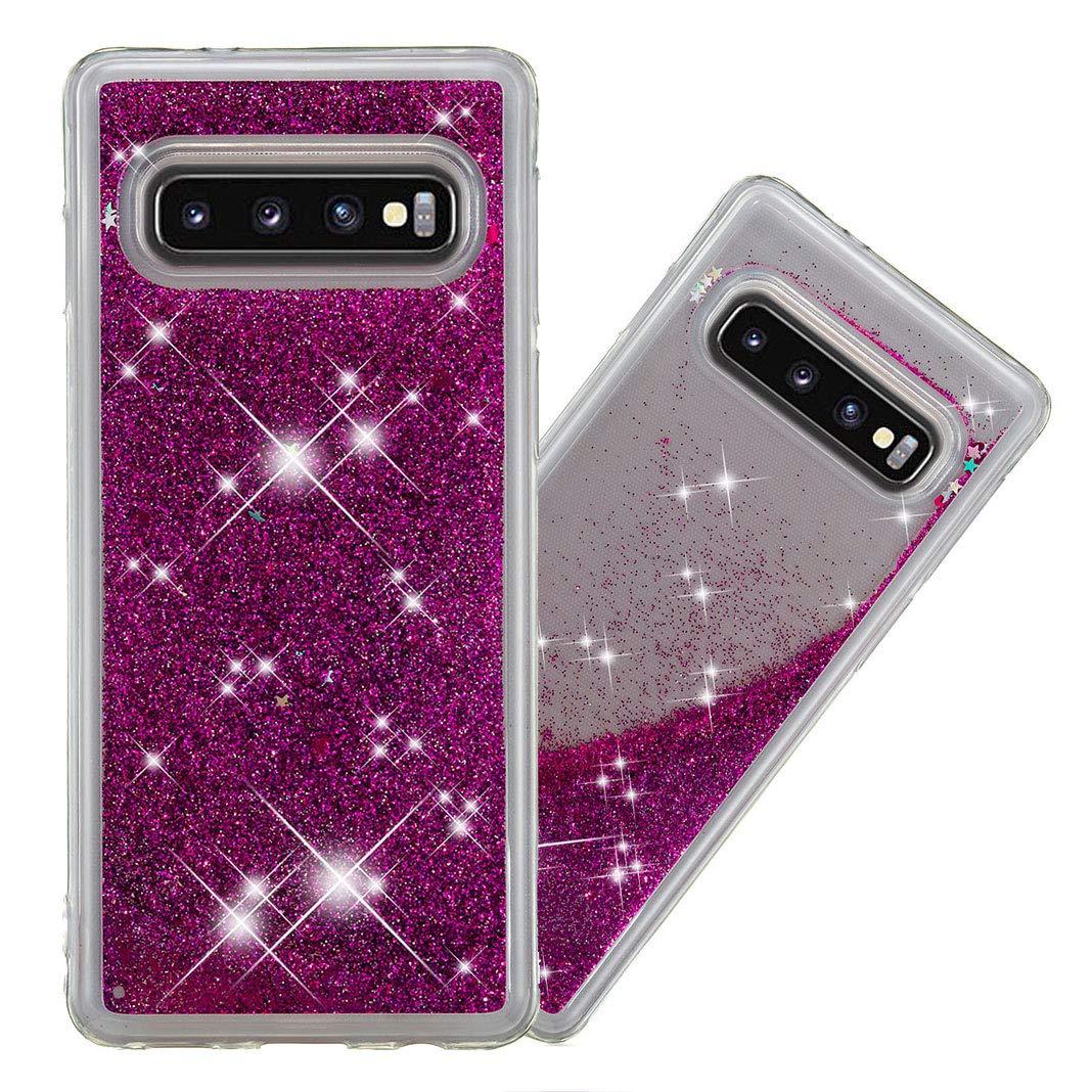 Giallo Bling Custodia Sottile Caso Fluente Ammortizzamento Pelle per Coque pour Samsung Galaxy S10 Plus MeganStore Galaxy S10 Plus Glitter Caso