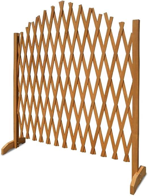 Celosía extensible, madera, color marrón, con soporte extensible, 1, 80 x 1, 07 m, se sujeta por sí sola, ideal como valla o celosía para el jardín, para ayudar al crecimiento de