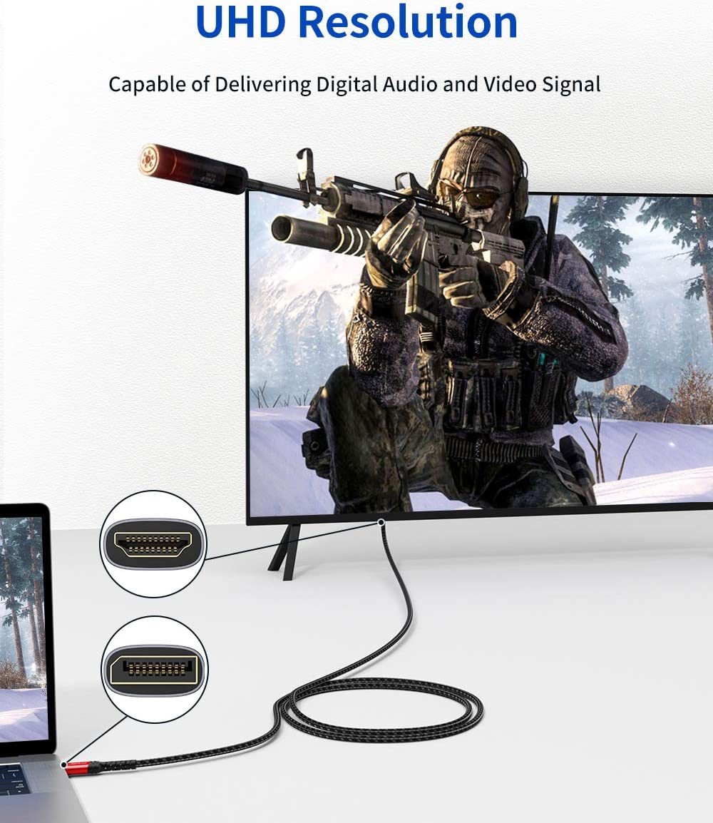 Projector NVIDIA Lenovo DisplayPort to HDMI Cable 10FT HP AMD JSUAX DP to HDMI Male to Male Video Cable FHD Nylon Braided DP to HDTV Video Unidirectional Cord for Monitor ThinkPad-Grey Desktop
