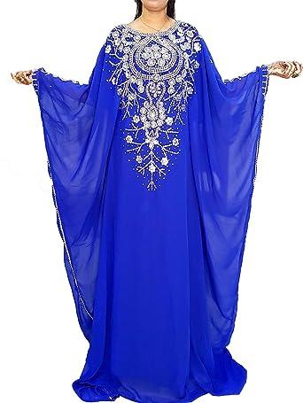 African Boutique Dubai Kaftan Robe De Soiree Maxi Longue Elegante Robe De Mariage Bleu Taille Unique Amazon Fr Vetements Et Accessoires