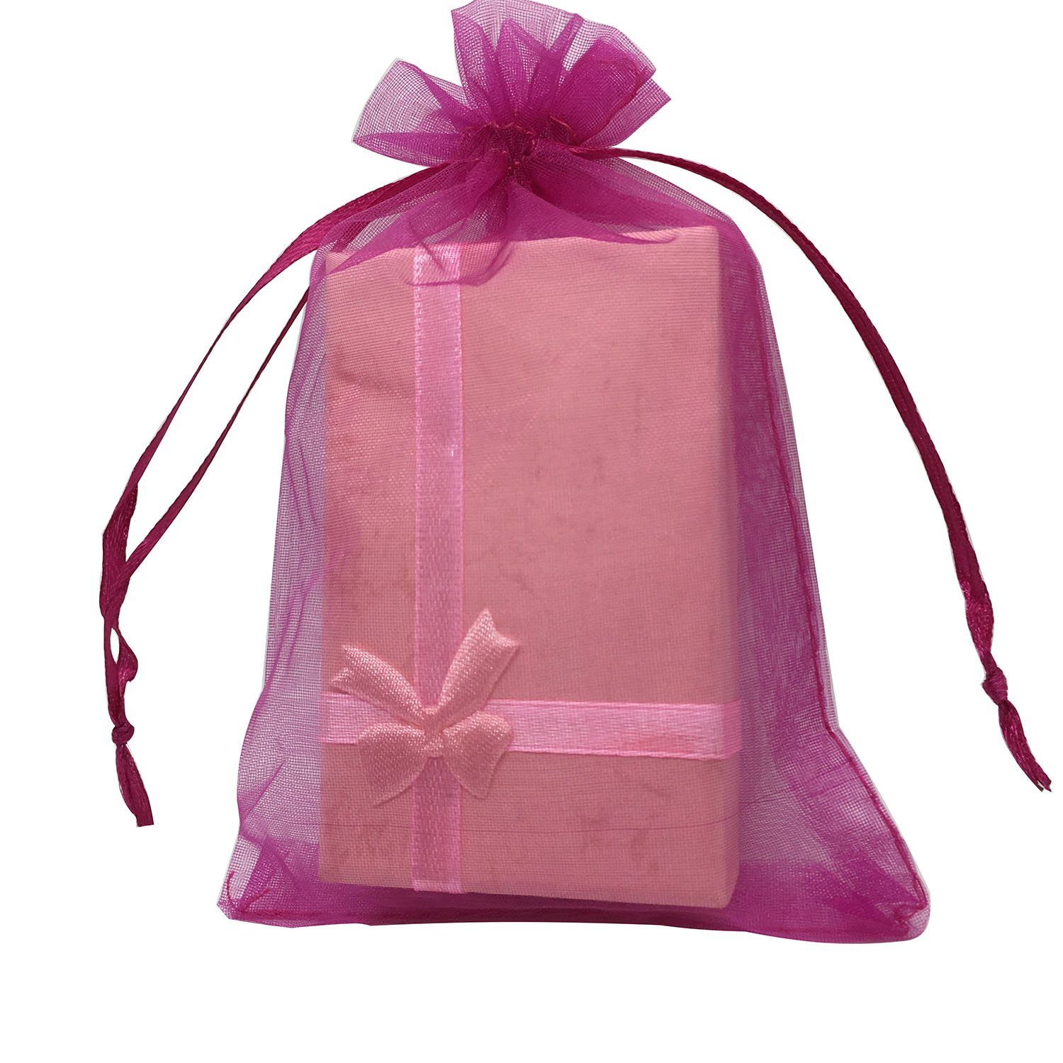 MELUOGE 100pcs 5X7 Inches Organza Drawstring Jewelry Pouches Bags Party Wedding Favor Gift Bags Candy Bags (Hot Pink)