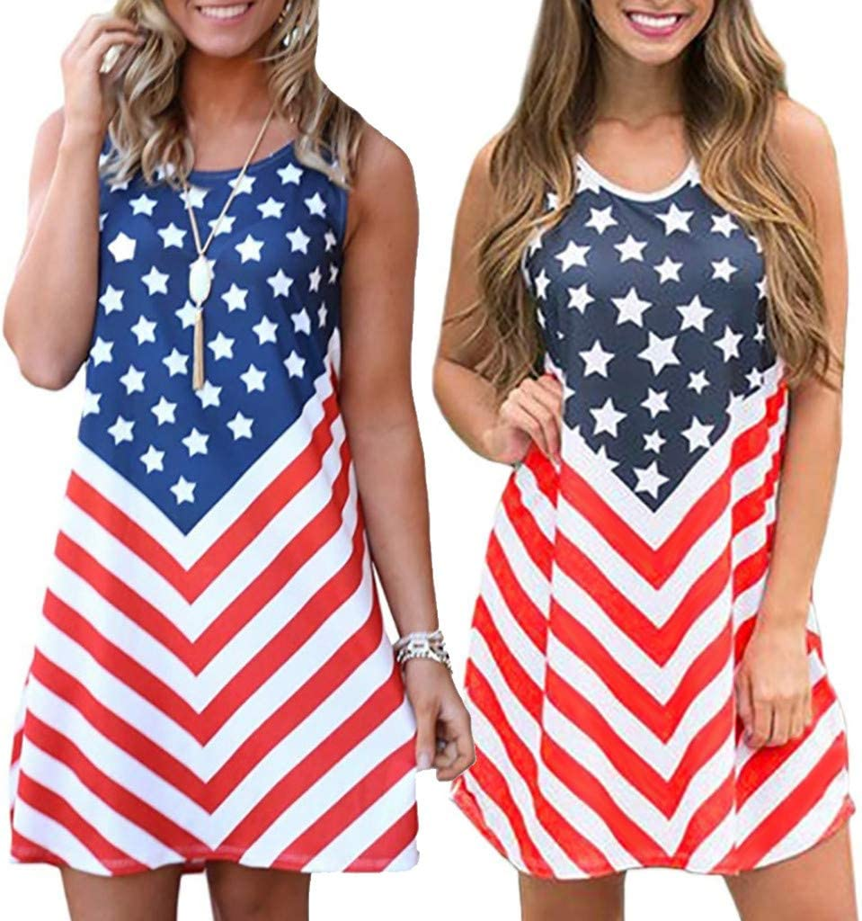 DaoAG-July 4th Womens Vintage American Flag Print Patriotic Strapless Sleevess Tank Midi Dress Stars and Striped Independance Day Mini Dresses Casual Summer Sling Dress