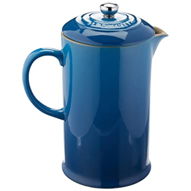 Le Creuset PG8200-1059 Stoneware French Press Coffee Maker, 27 oz, Marseille