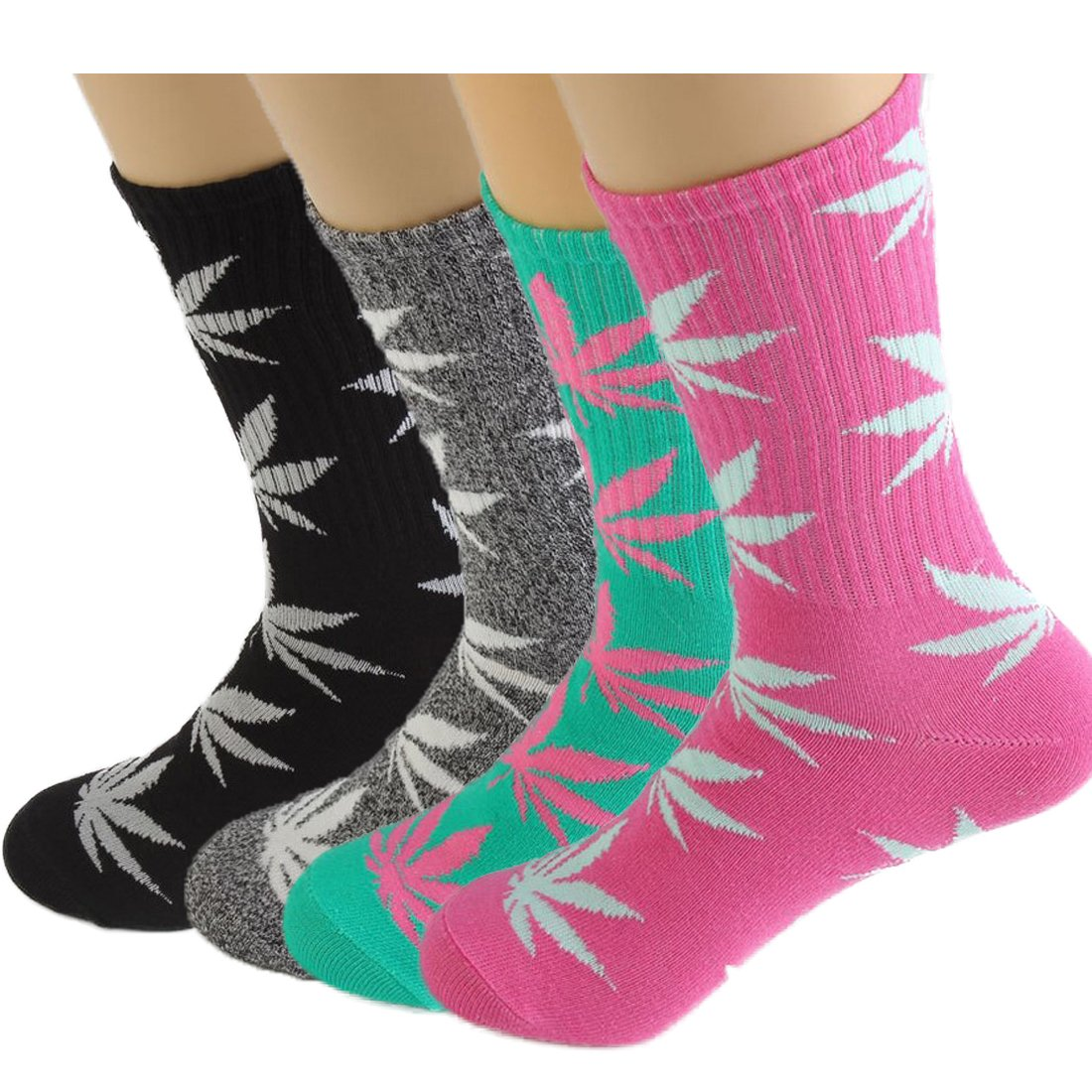 Lucky Ben 4pair-pack Marijuana Weed Leaf Printed Cotton High Socks, Mix Colors, fit for shoe size 7-11