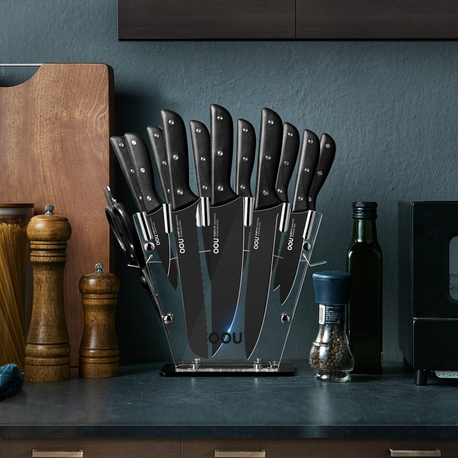 OOU Knife Set, 15 Piece Kitchen Knife Set, High Carbon Stainless Steel Full Tang, FDA Certified BO Oxidation for Anti-rusting, Ultra Sharp Premium Edge Tech, Black Chef Series by OOU! (Image #6)