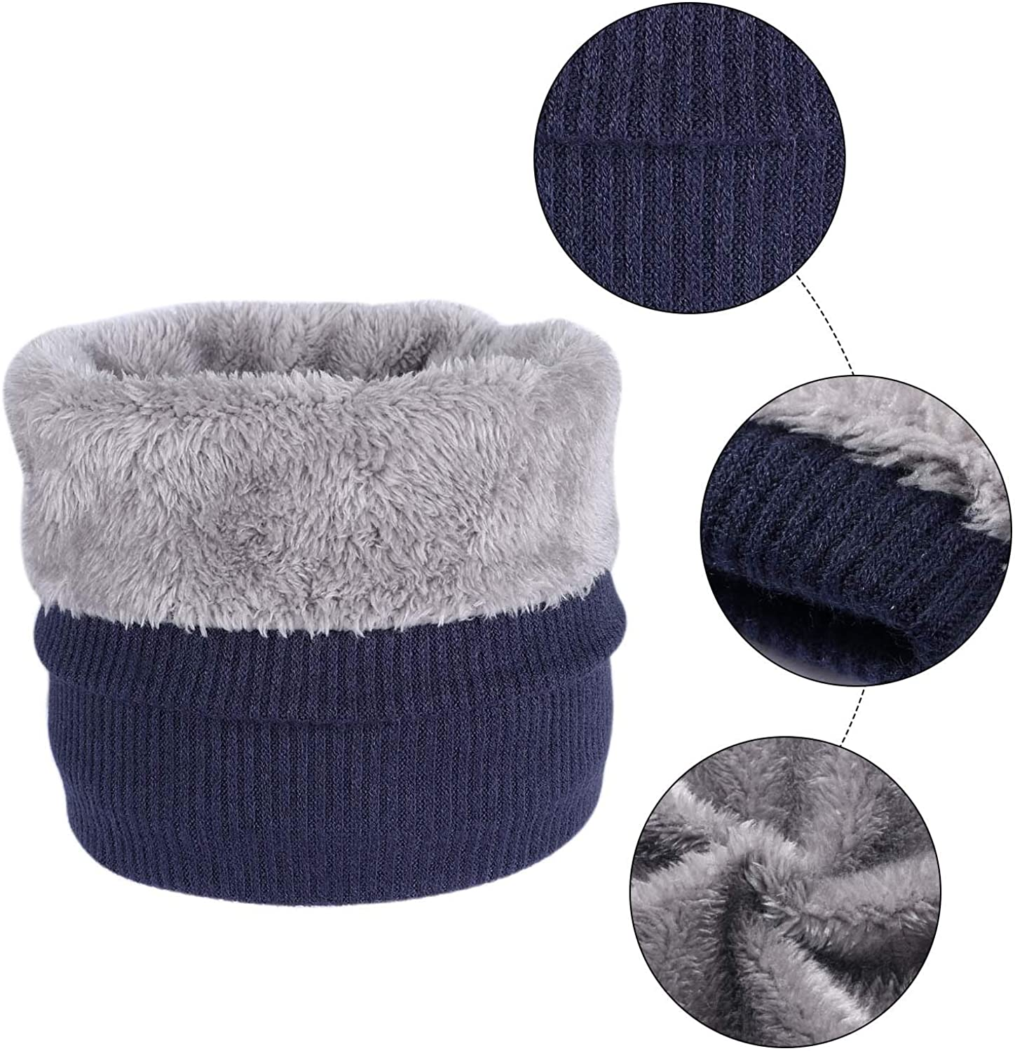 Tacobear Neck Warmer Snood Scarf Fleece Lining Thicken Windproof Winter Warm Knit Scarf Circle Scarf Outdoor Cycling Ski Neck Scarf for Women Men Navy Blue