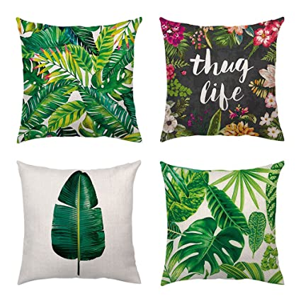 Green Leaves Plants Linen Square Pillow Case Sofa Decorative Cushion Cover 18/""