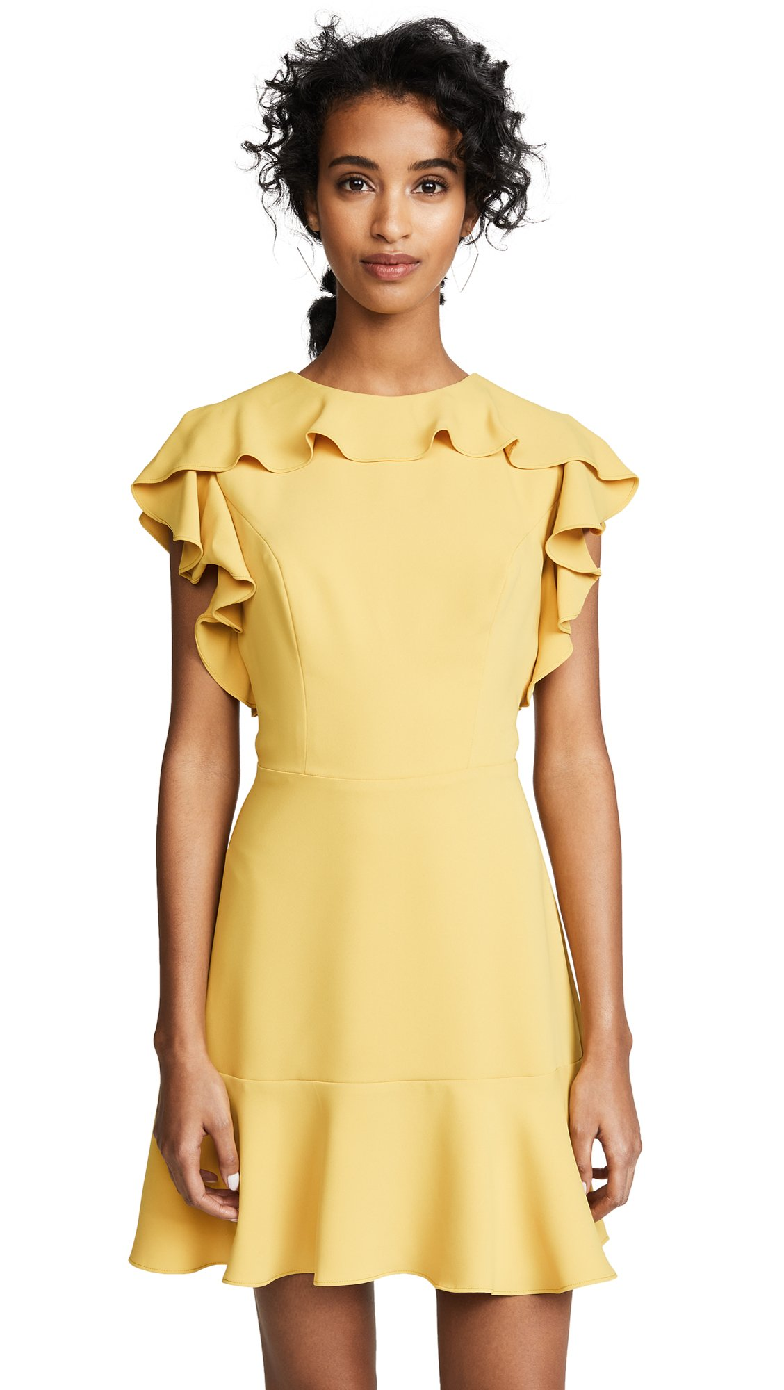 Amanda Uprichard Women's Emery Dress with Ruffle Neckline, Marigold, Large