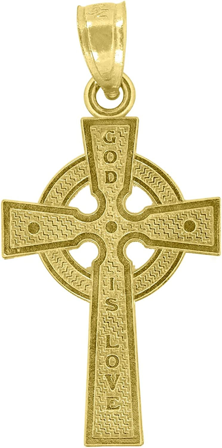 Jewels By Lux 14kt Yellow Gold God Is Love Cross Religious Pendant Charm