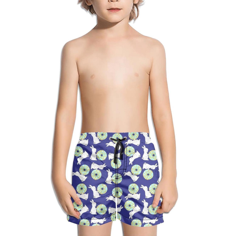 Lenard Hughes Boys Quick Dry Beach Shorts with Pockets Bunny Love Donut Swim Trunks for Summer