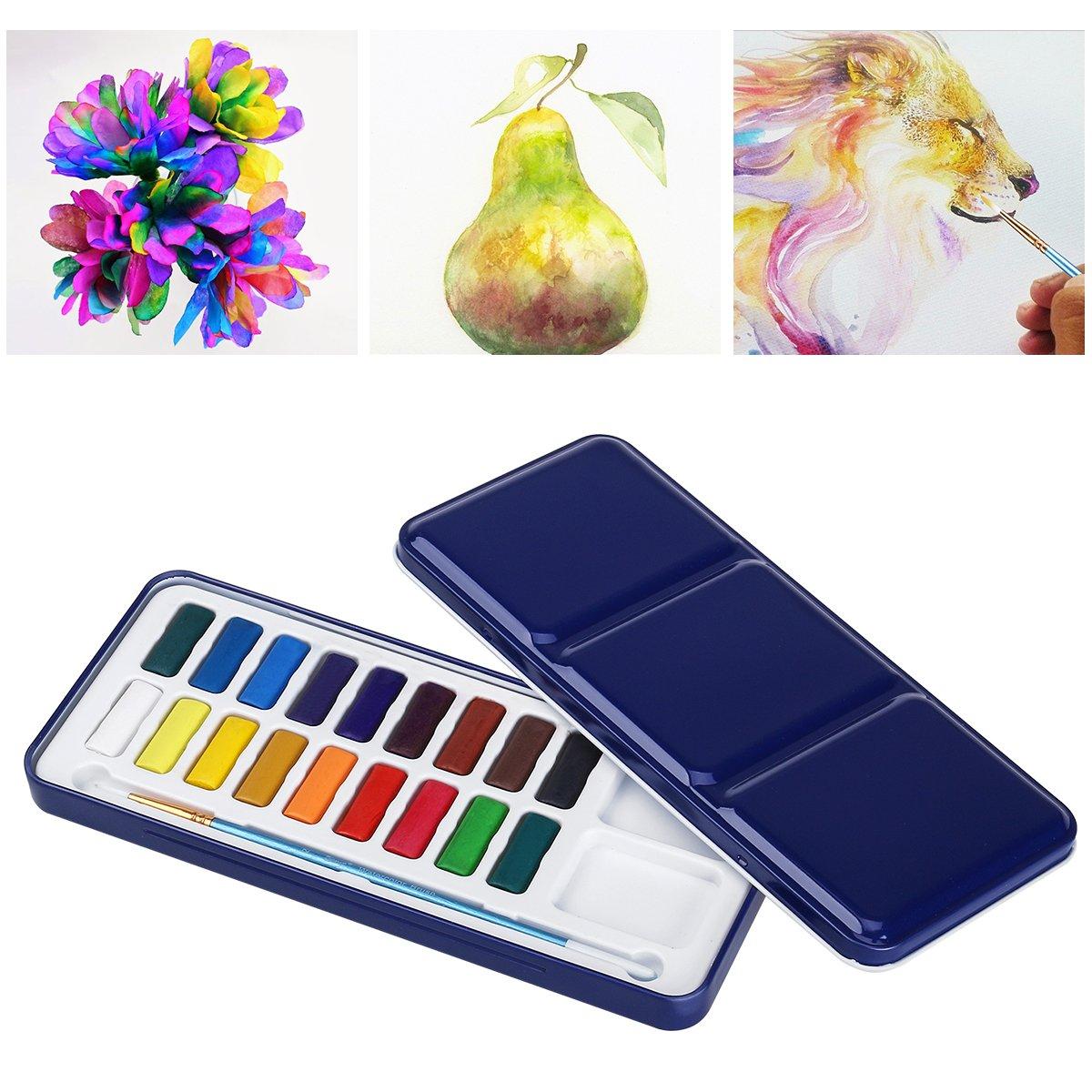 Ultnice - Set di colori ad acquerelli con pennello, contenuti in una scatola di latta, palette 18 colori