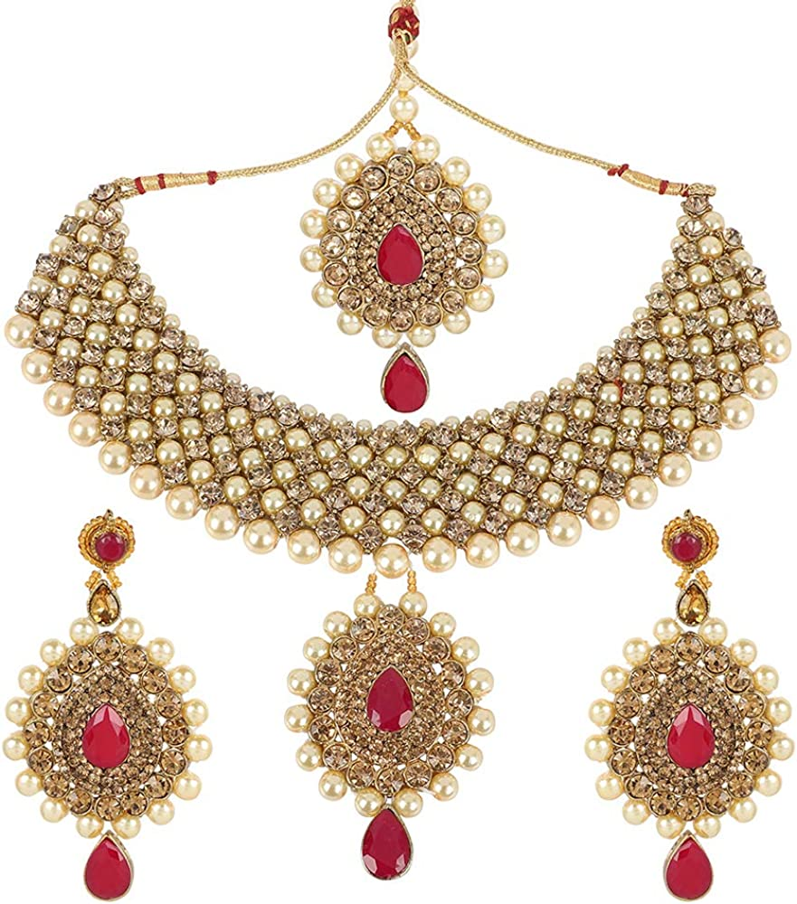 Indian Bollywood Bridal Necklace Fashion Gold Plated Bollywood Ethnic Wedding Party Wear Jewellery Set For Women