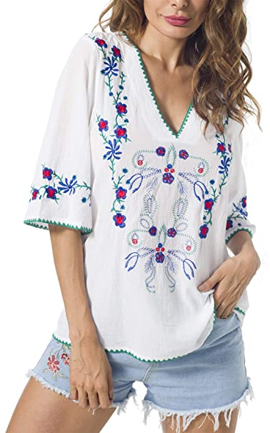 Amazon.com: YZXDORWJ - Blusa de algodón con bordado mexicano ...
