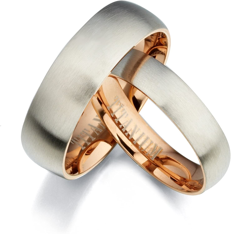 4.5 Gemini Groom /& Bride Two Tone Rose Gold /& Silver Brush /& Polish Titanium Wedding Ring Set Width 7mm /& 5mm Men Ring Size 6.5 Women Ring Size